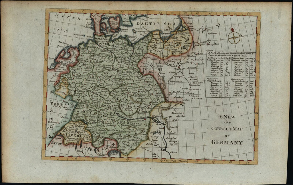 Germany Poland Baltic Sea c.1780's Europe old map hand colored on