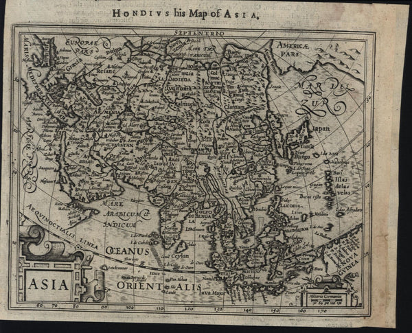 China Arabia Korea as island Alaska India Japan 1626 Purchas Hondius scarce map