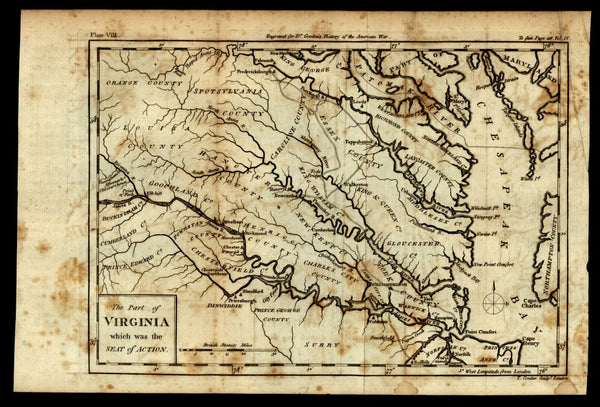 Revolutionary War Virginia Seat of Action Chesapeake Bay 1788 Conder map