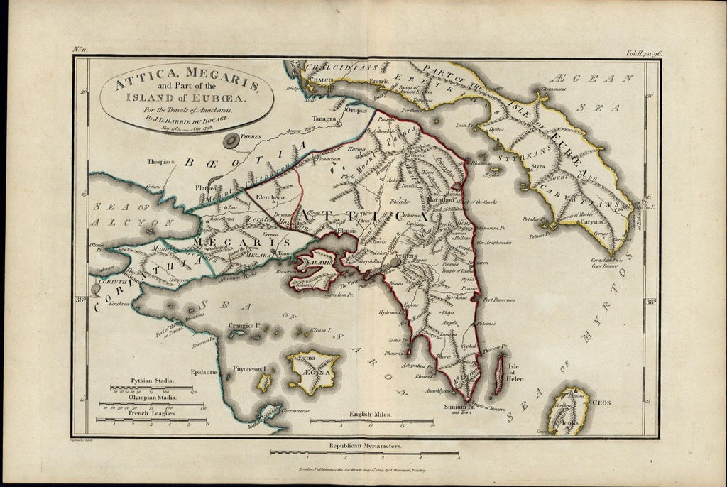 Greece Attica Megaris Euboea Island Saron Sea Corinthia 1805 antique fine map