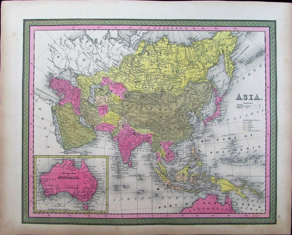 Asia India Hindoostan Arabia Australia Persia China 1848 Mitchell antique map