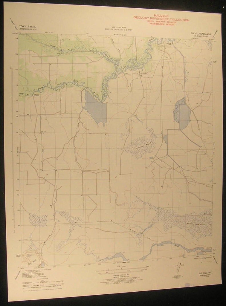 Big Hill Texas Alligator Marsh McFadden Road 1945 antique color lithograph map