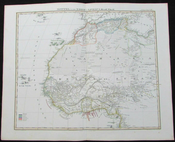 Northwest Africa Gold Slaves Ivory 1848 Stulpnagel map Stieler