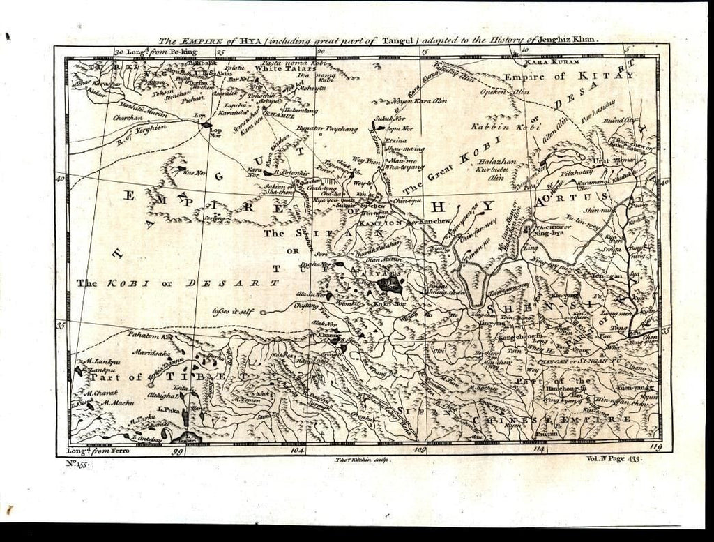 Central China North Tibet Gobi Desert Tartar Territory 1747 antique engraved map