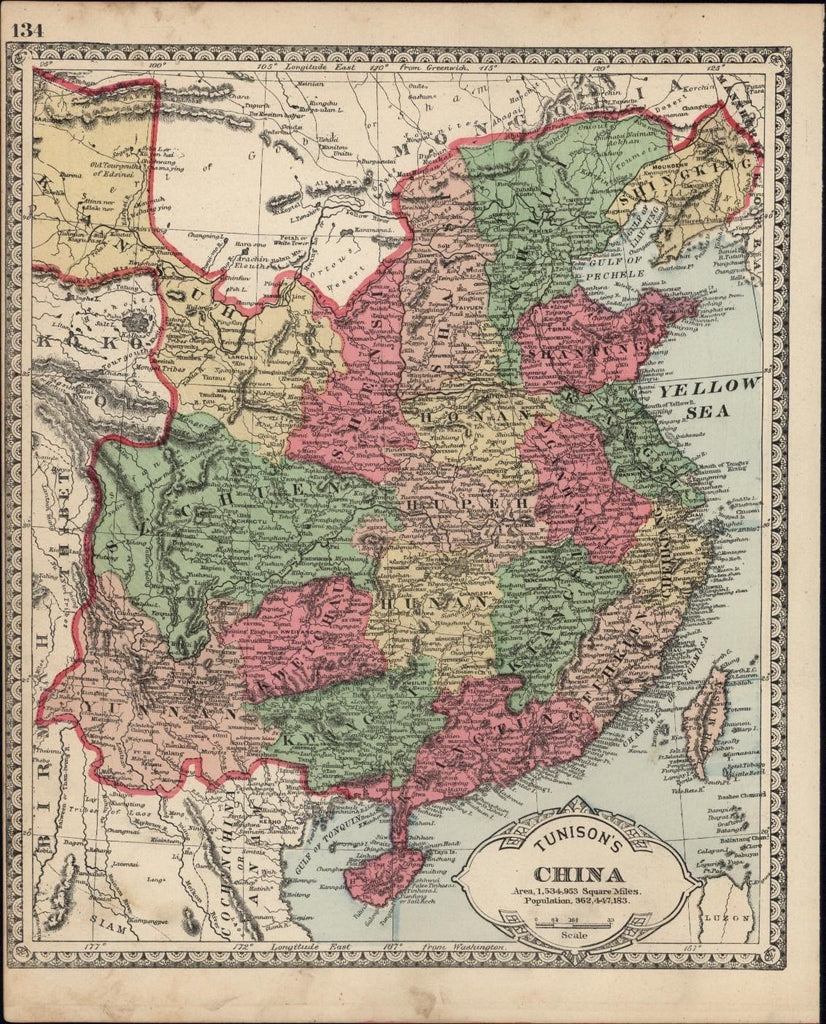"China ""Yellow Sea"" shown Formosa Hainan Anam Vietnam c.1882 hand color old map"