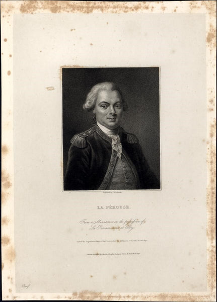 La Perouse French explorer 1834 rare engraved portrait print India proof