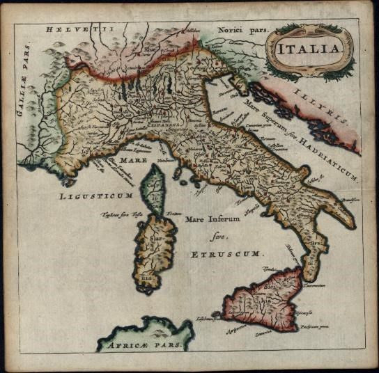 Italy Italia c.1650 charming antique map hand colored miniature Borri #112
