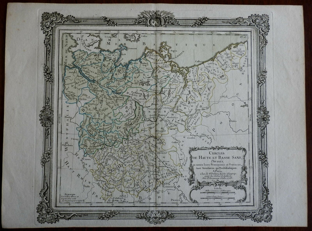 Upper & Lower Saxony Holy Roman Empire Germany Berlin Bremen 1766 Desnos map
