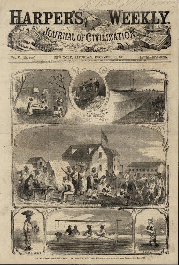 Beaufort Contraband Escaped Slaves Uncle Tom 1861 great old print for display