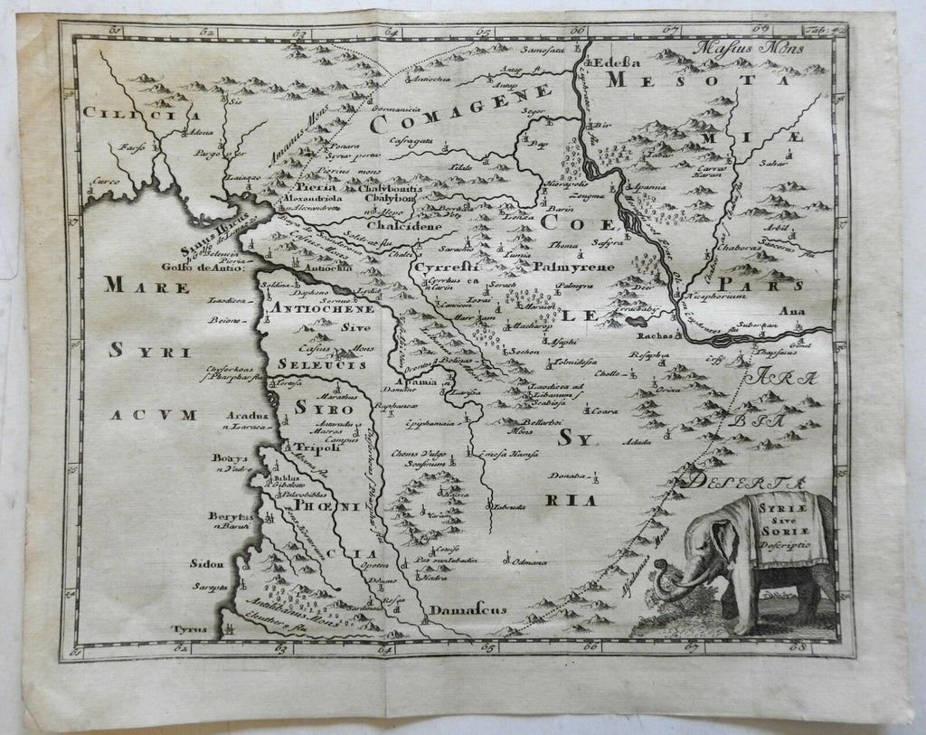 Middle East Syria Tripoli Damascus Sidon Tyre Palmyra 1697 Cluverius map