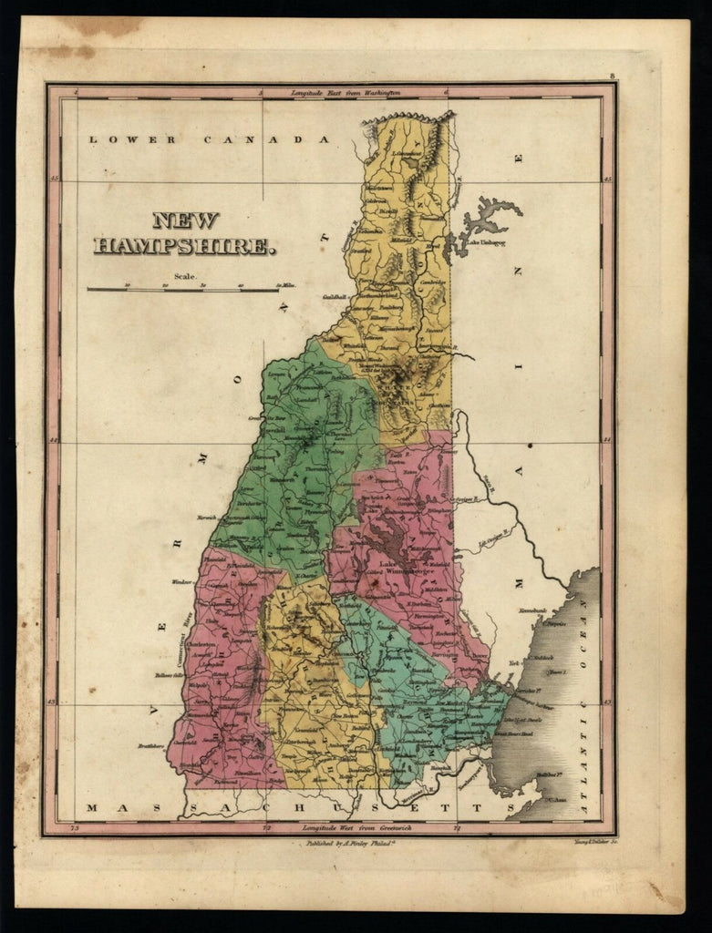 New Hampshire state by itself 1824 Finley Young Delleker map No Merrimack County