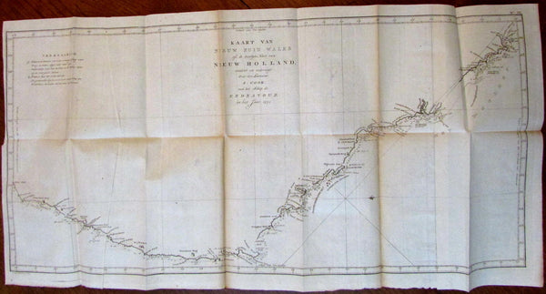 Australia New South Wales 1770 Capt Cook 1798 Baarsel large old engraved map