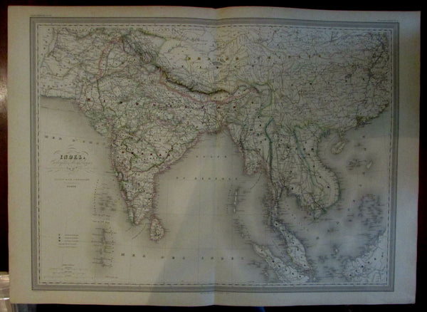 India Southeast Asia Anam Siam Hindostan Indo China Pegu 1858 huge Dufour map