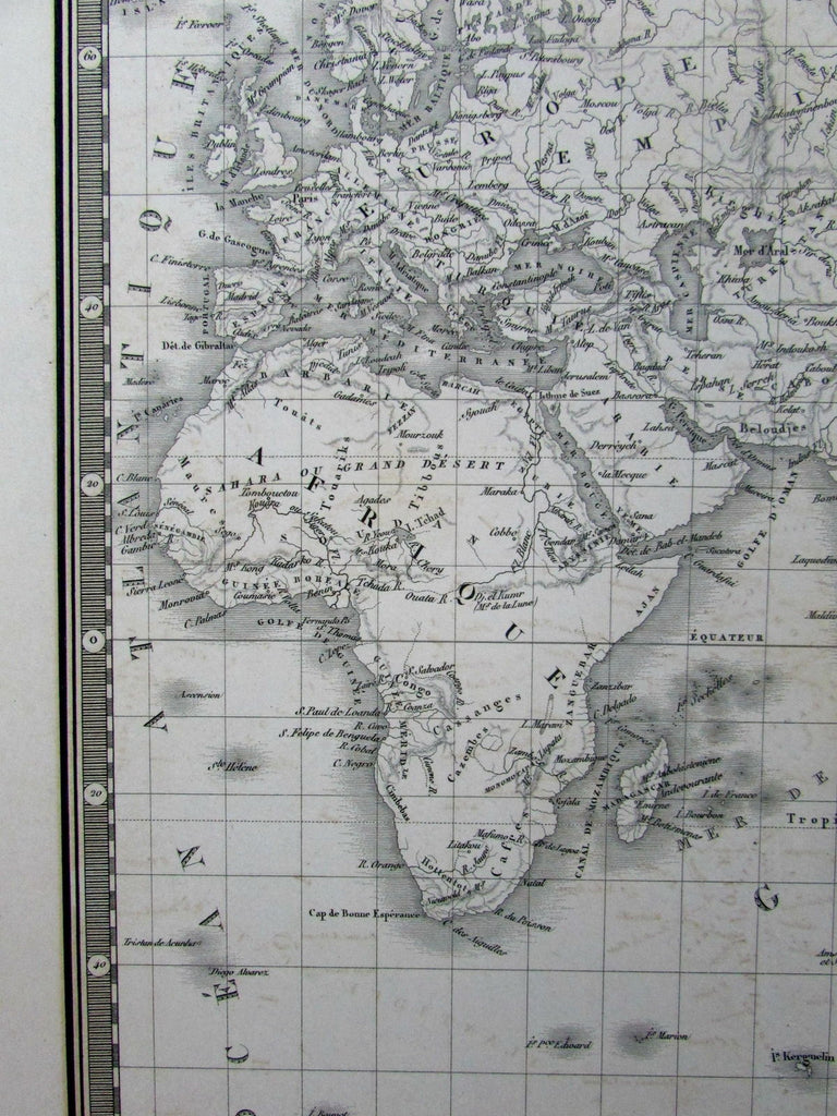 World map Mts. of Moon Louisiana Territory 1836 Brue fine large folio old map