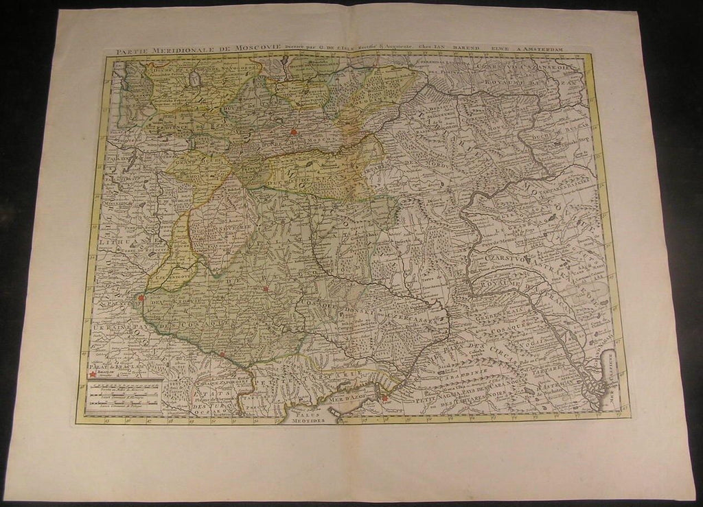 Moscow Russia Lithuania Poland Moscovie c.1790 Elwe folio antique hand color map