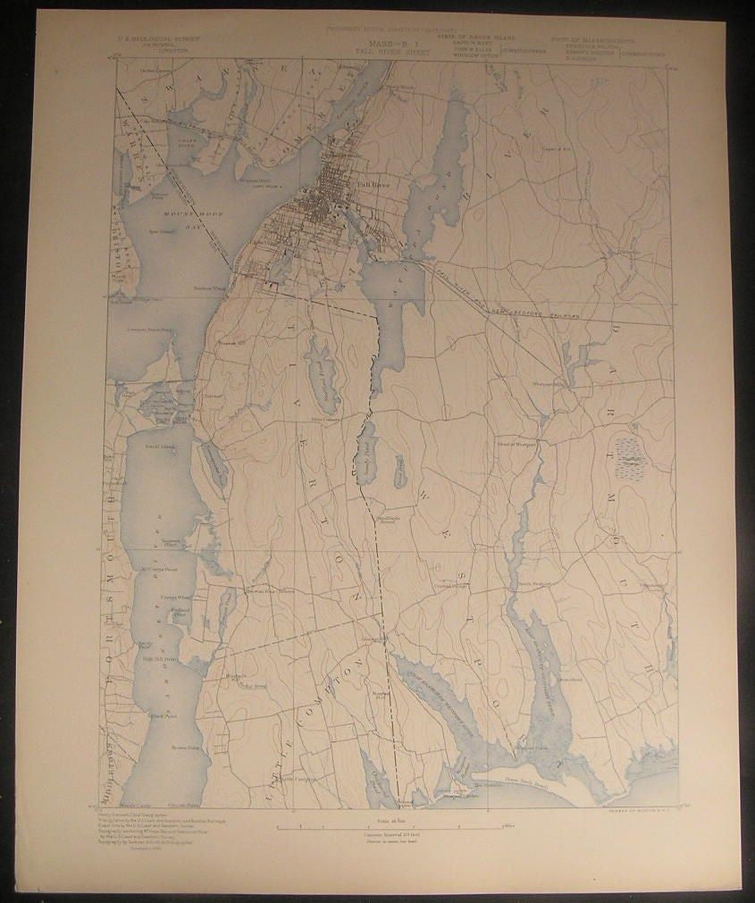 Fall River Sheet Massachusetts Rhode Island c.1898 U.S.G. state survey map