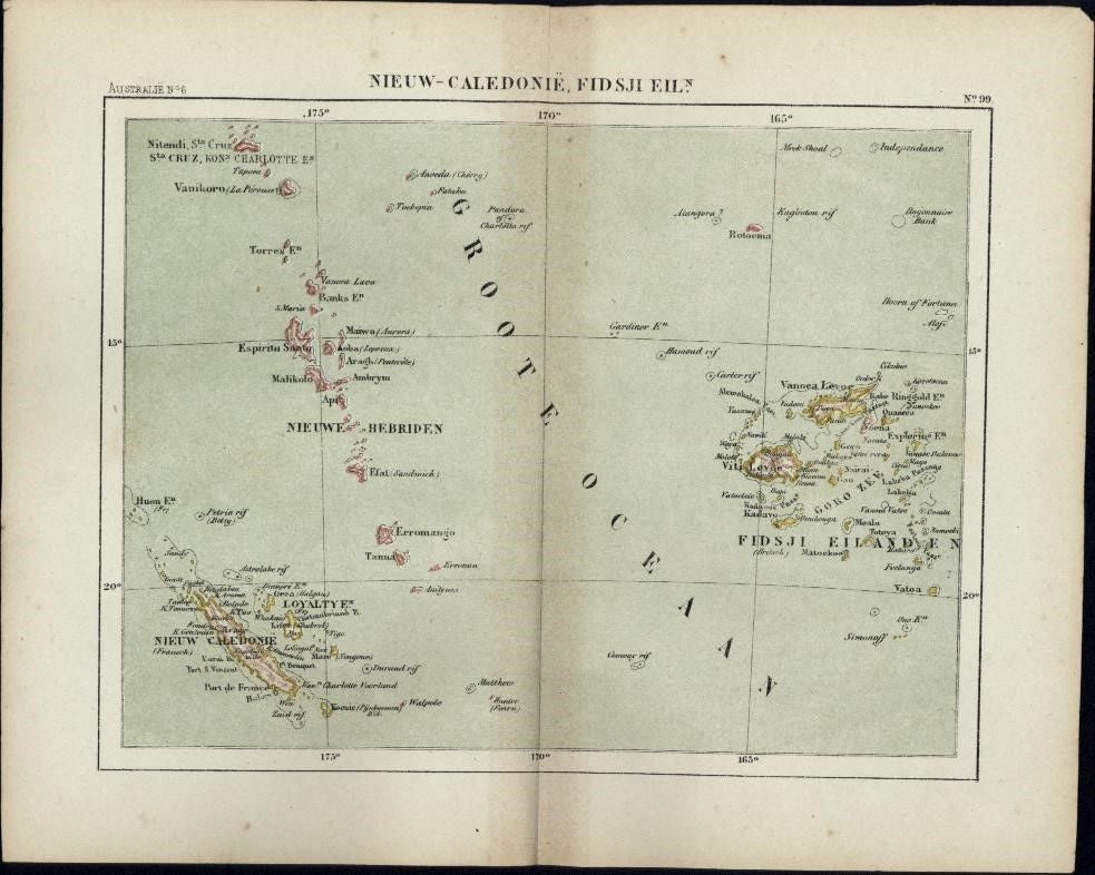 New Caledonia Fiji Islands New Hebrides scarce 1882 small Dutch old color map
