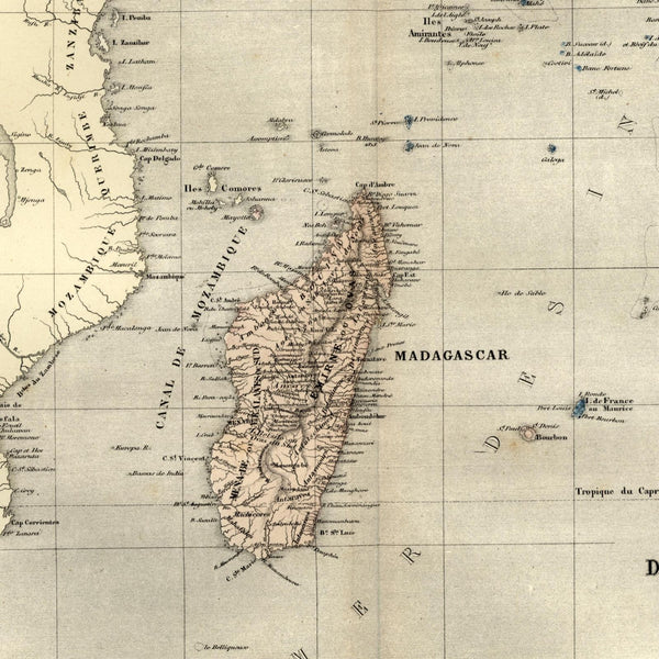 Africa Madagascar emphasis Lake Uniamesi 1855 Dufour scarce old hand color map