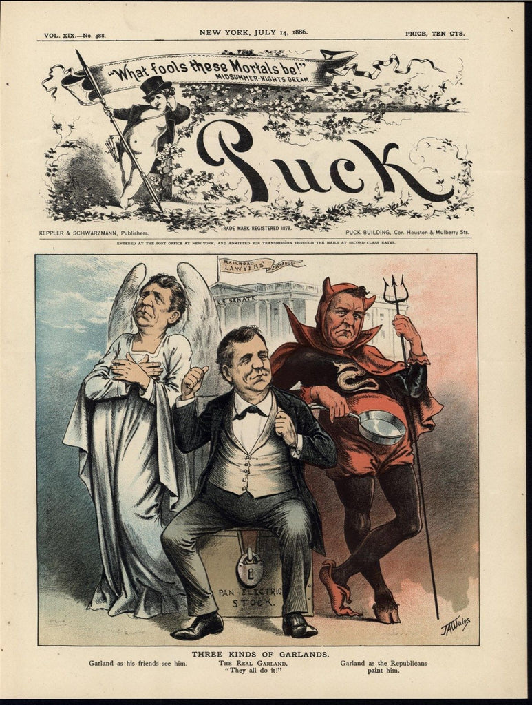 Senator Augustus Garland Devil & Angel Fraud 1886 antique color lithograph print