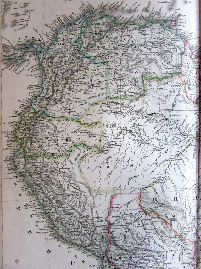 South America north Brazil Guyana Bolivia Ecuador 1860 Stulpnagel detail old map