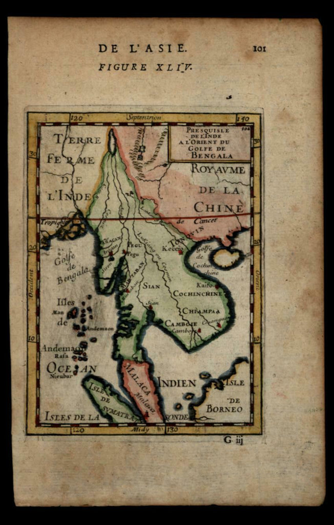 Southeast Asia Siam Tonquin Malaca 1683 Mallet engraved map hand colored
