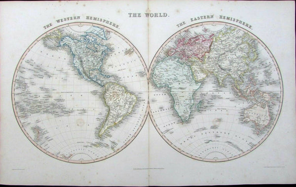 World Hemispheres Africa Mts. of Moon Lake Torrens hooked 1848 Gilbert map