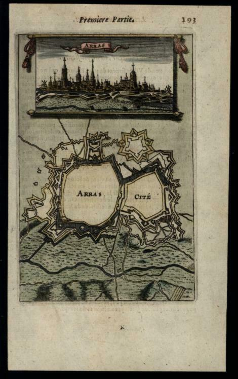 Arras France miniature city view fortified ramparts map 1672 Mallet print