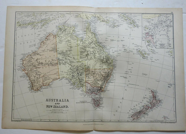 Australia New Zealand Torres Strait New South Wales Oceania 1882 Blackie map