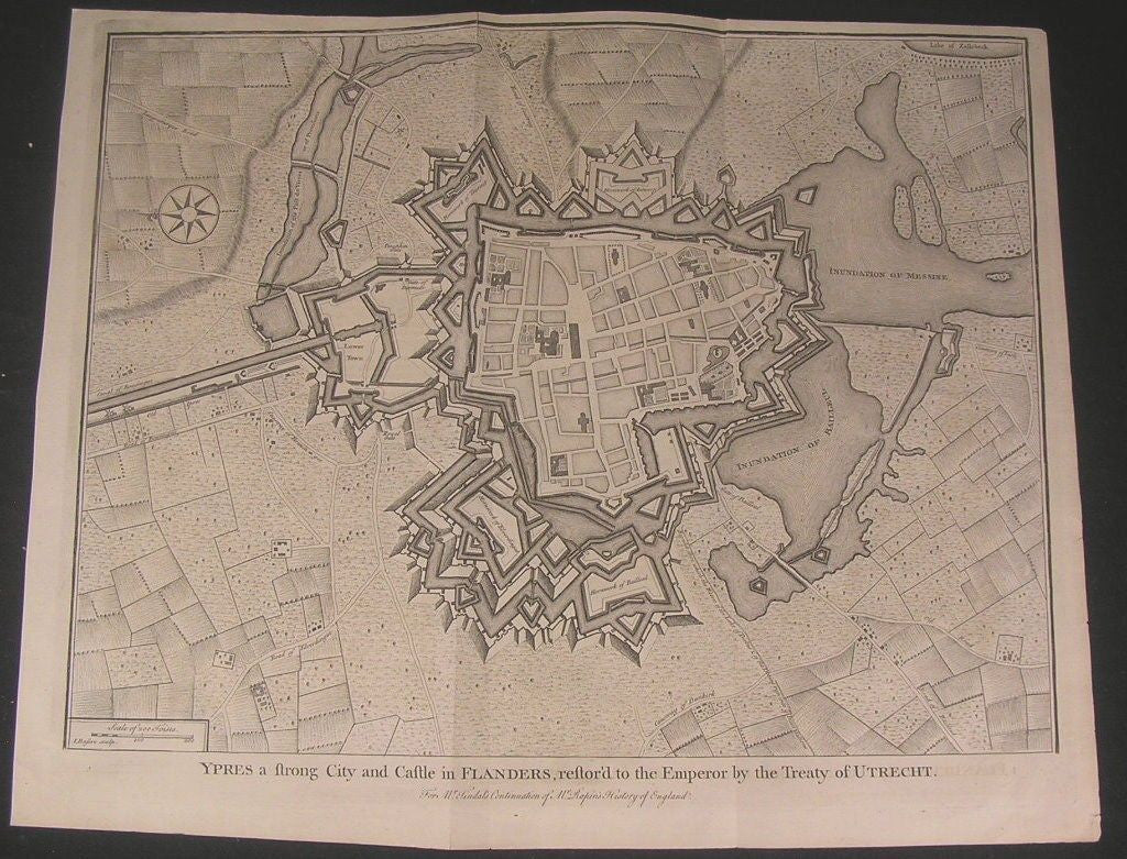 Ypres Flanders Belgium 1740's Basire fine old large vintage antique city plan