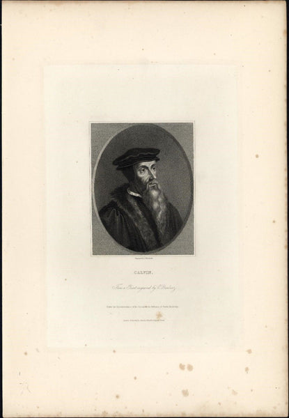 John Calvin French Theologian 1834 rare engraved portrait print India proof