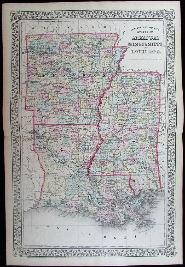 County Map Arkansas Louisiana Mississippi 1872 Gamble Mitchell antique color map