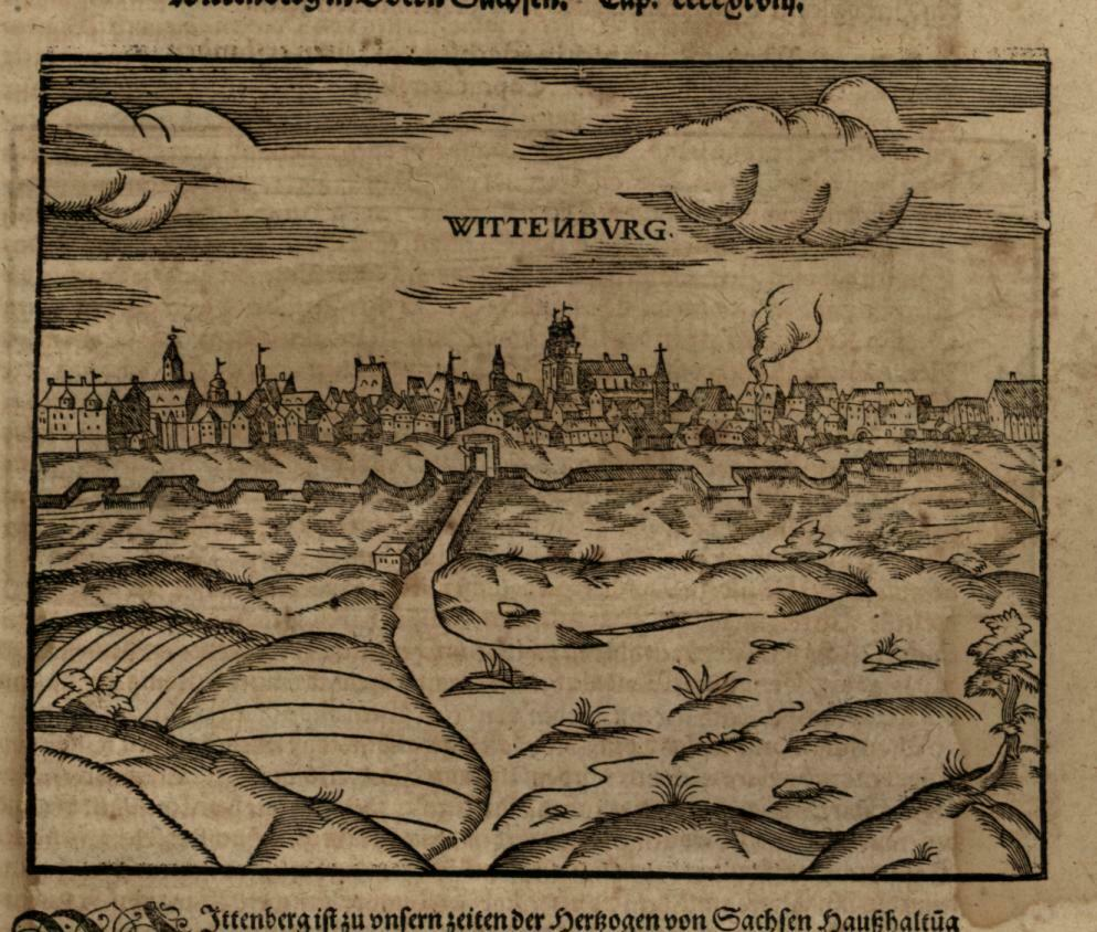 Wittenburg city view Martin Luther 1598 Munster Cosmography wood cut print