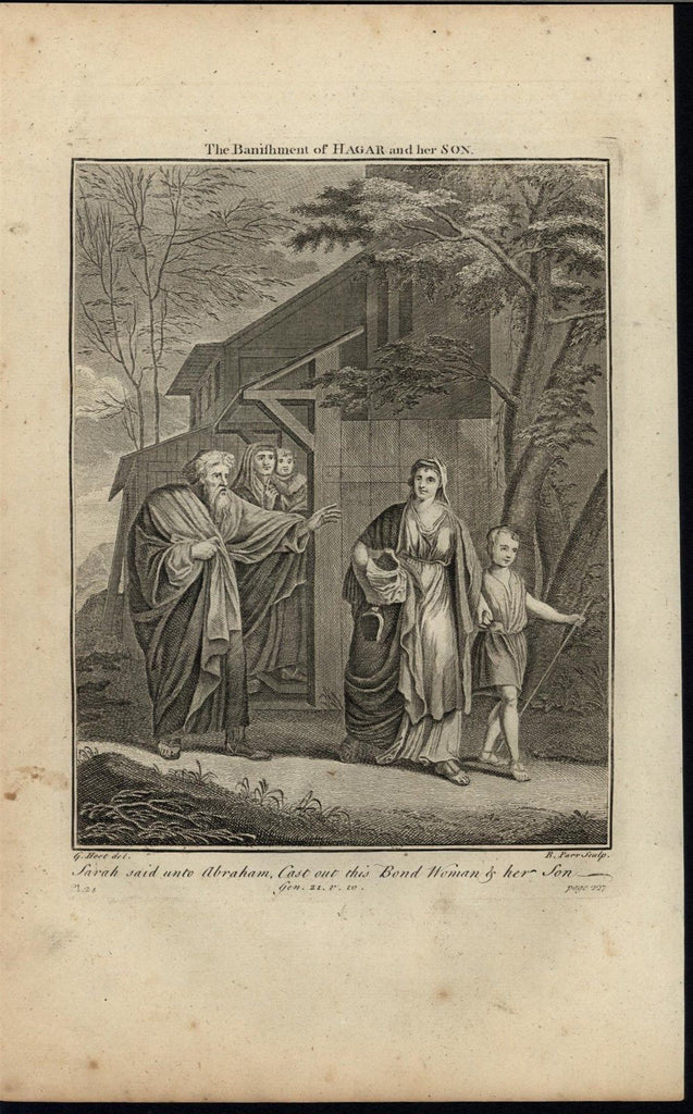 Banishment of Hagar & Ishmael Expel c.1750 antique copper engraved Bible print