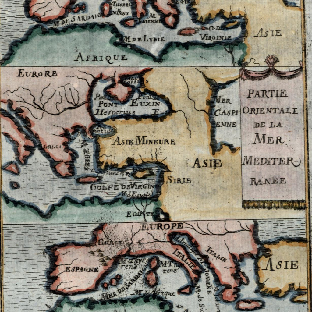 Mediterranean Sea Europe Turkey Africa water Asia 1719 old Mallet map hand color