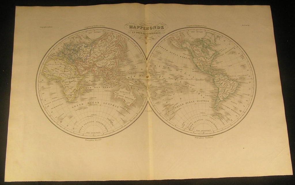 World Hemispheres w/ Mountains of Moon in Africa 1846 antique engraved color map