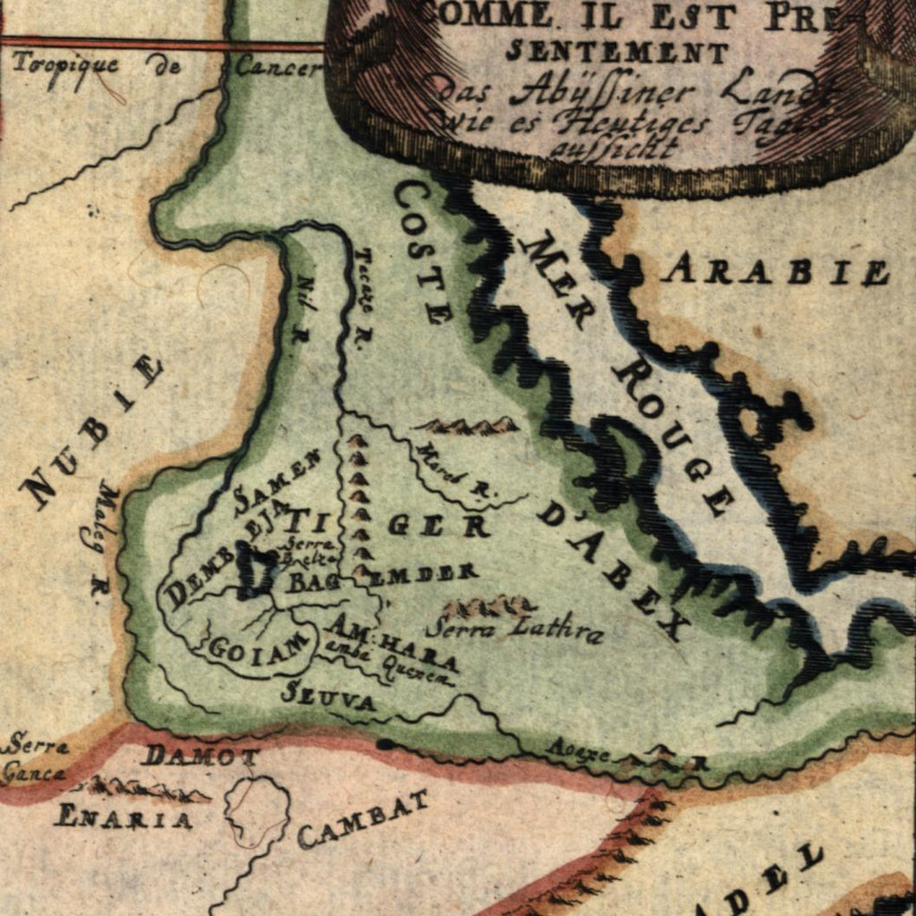 Africa Red Sea coast Adel Abex Arabia Nubia 1719 antique engraved Mallet map