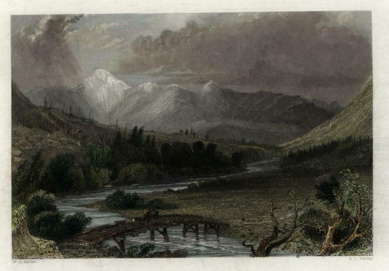 Mt Washington White Mountains New Hampshire c.1850 Bartlett print colored view