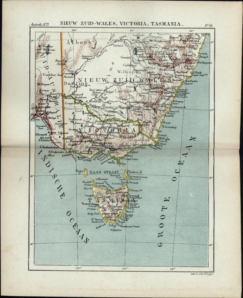 Australia New South Wales Victoria Tasmania scarce 1882  old Dutch color map