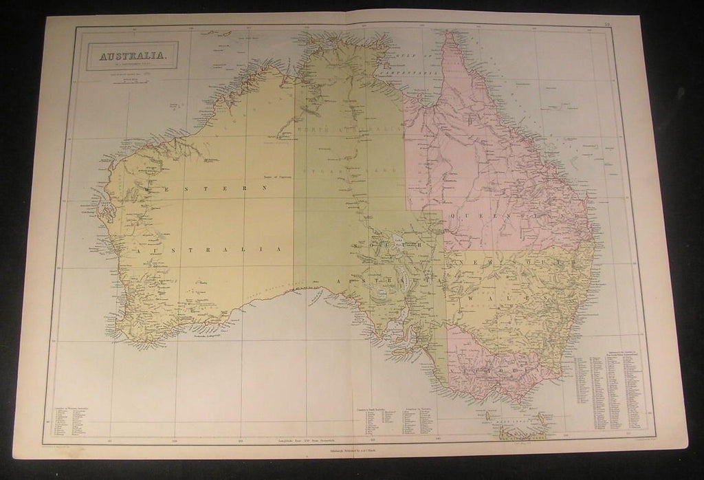 Australia New South Wales Queensland c.1870 antique engraved color map