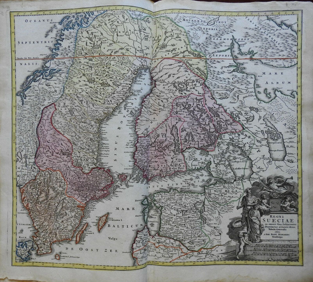 Kingdom of Sweden Finland Stockholm Baltic c. 1735 Homann decorative folio map