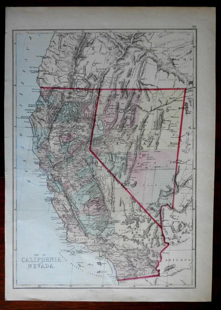 California & Nevada Western U.S. 1875 Williams uncommon detailed state map