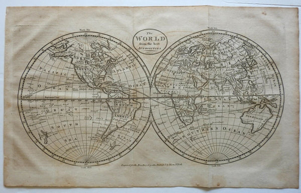 World Map Double Hemispheres 1805 Rollinson American map River of West named