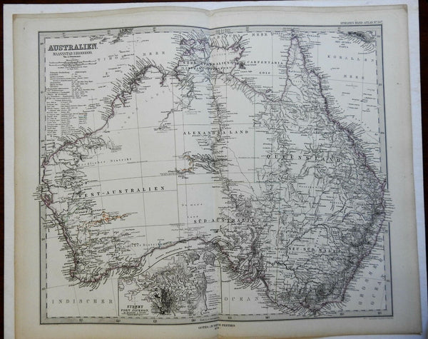 Australia West Australia Alexandraland Queensland 1874 Petermann detailed map