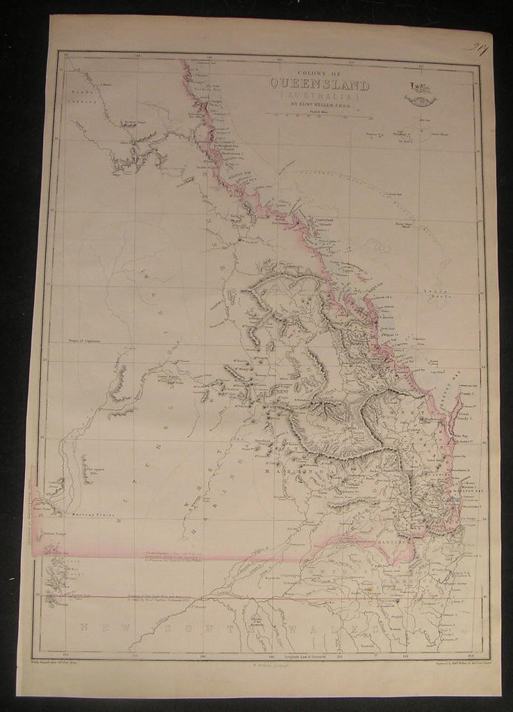 Colony of Queensland Australia c.1863 Weller scarce old vintage antique map