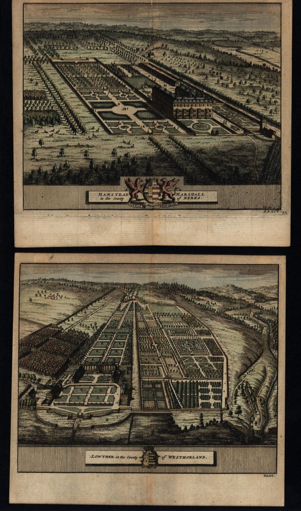 England English gardens c.1715 van der Aa old prints hand color beautiful pair