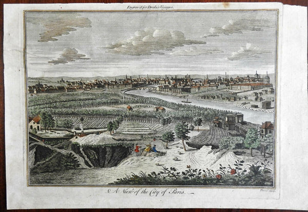 City of Paris birds-eye view 1768 Proud engraved Vineyards Skyline Seine River