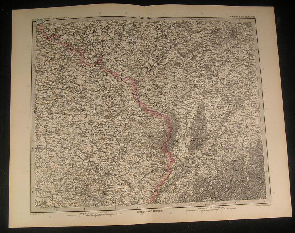 North Eastern France Luxembourg 1897 antique engraved color map