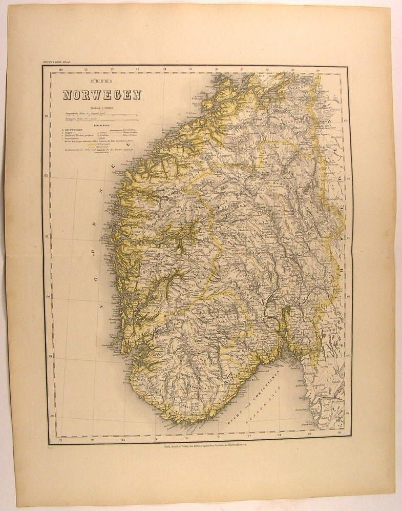 Southern Norway Oslo Christiania Bay 1873 scarce antique regional fine Meyer map