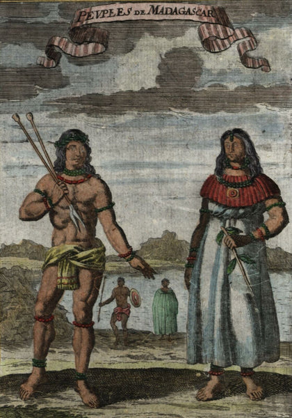 Madagascar Africa 1719 old Mallet Ethnic costume hand color print