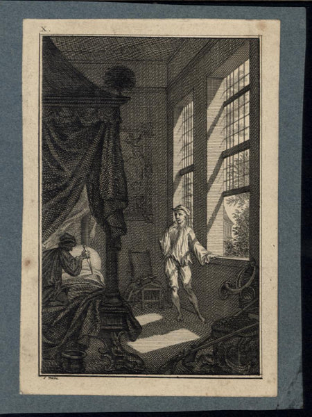 Attempted Murder Knife Wielding Attacker Bedroom c.1775 antique engraved print